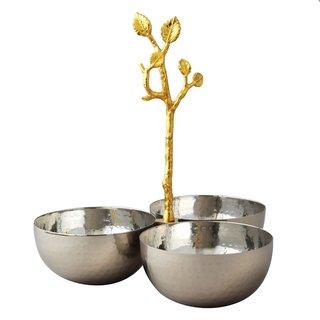 Elegance Golden Vine Hammered Triple Bowl