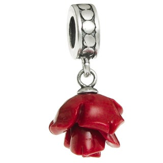 Queenberry Sterling Silver Simulated Red Coral Leaf Dangle Pendant European Bead Charm