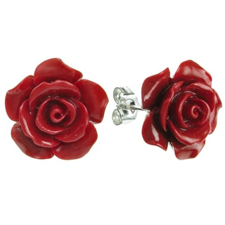 Queenberry Sterling Silver Simulated Red Coral Rose Stud Earrings