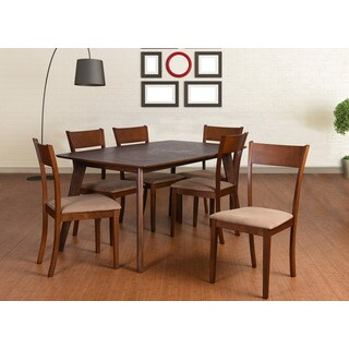 Olivia Mid Century 7 Piece Extendable Dining Set, Brown
