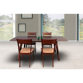 Olivia Mid-Century 5 Piece Living Room Extendable Dining Set, Sand
