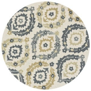 Hand-hooked Charlotte Ivory/ Multi Rug (3' Round)
