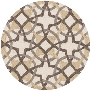 Hand-hooked Charlotte Ivory/ Brown Circle Motif Rug (3' x 3')
