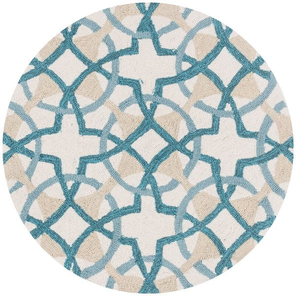 Shop Hand-hooked Charlotte Ivory/ Teal Circle Motif Rug