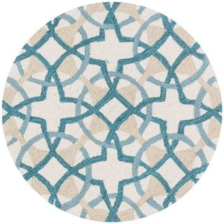 Hand-hooked Charlotte Ivory/ Teal Circle Motif Rug (3' x 3')