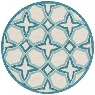 Hand-hooked Charlotte Ivory/ Sea Blue Rug (3' x 3')