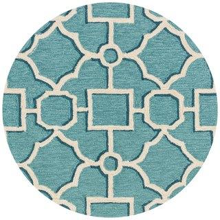 Hand-hooked Charlotte Aqua/ Beige Moroccan Rug (3' x 3')