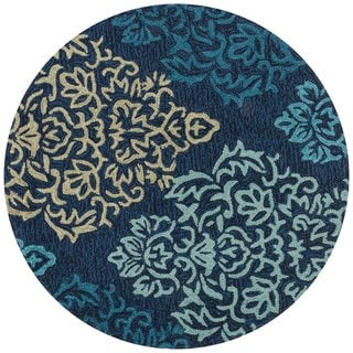 Hand-hooked Charlotte Navy/ Multi Damask Rug (3' x 3')