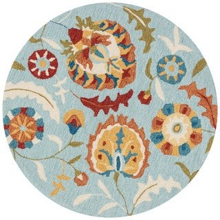 Hand-hooked Charlotte Blue/ Spice Floral Rug (3' x 3')