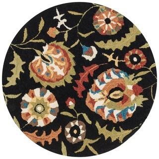 Hand-hooked Charlotte Black/ Multi Floral Rug (3' x 3')