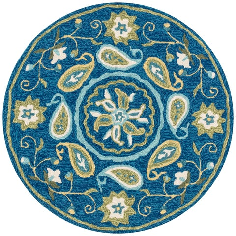 Hand-hooked Charlotte Blue/ Green Paisley Rug - 3' x 3'