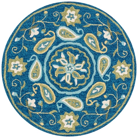 Hand-hooked Charlotte Blue/ Green Paisley Rug (3' x 3') - 3' x 3' Round