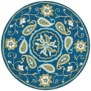 Hand-hooked Charlotte Blue/ Green Paisley Rug (3' x 3')