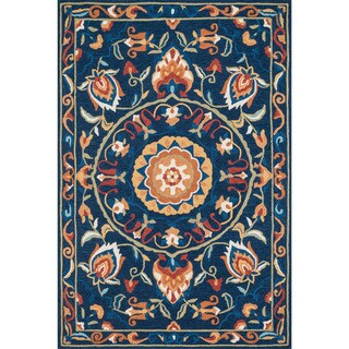 Hand-hooked Charlotte Blue/ Spice Rug (7'6 x 9'6)