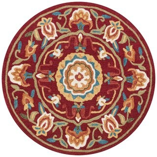 Hand-hooked Charlotte Red/ Sage Rug (3' x 3')