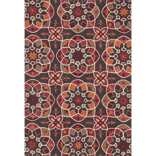 Hand-hooked Charlotte Brown/ Spice Kaleidoscope Rug (7'6 x 9'6)