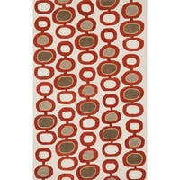 Hand-tufted Echo Ivory/ Red Geo Rug (5'0 x 7'6) - 5' x 7'6""