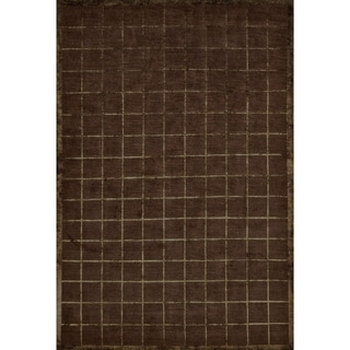 Grand Bazaar Hand-knotted Wool and Silk Chadwick Rug in Chocolate - 4' x 6'