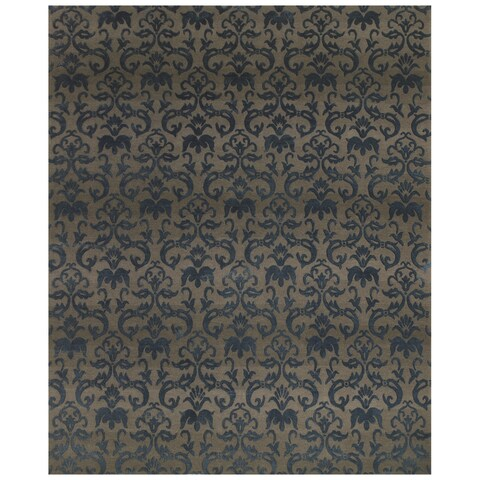 "Grand Bazaar Hand-knotted Wool/ Silk/ Cotton Kooshlame Rug in Grey/ Teal (5'6 x 8'6) - 5'6"" x 8'6"""