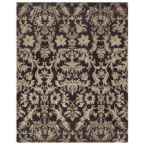 """Grand Bazaar Hand-knotted Wool/ Silk/ Cotton Kooshlame Rug in Charcoal (5'6 x 8'6) - 5'6"""" x 8'6"""""""