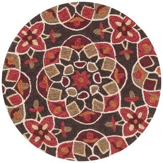 Hand-hooked Charlotte Brown/ Spice Kaleidoscope Rug (3' x 3')