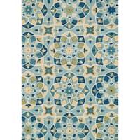 Hand-hooked Charlotte Turquoise/ Sea Kaleidoscope Rug (5'0 x 7'6)