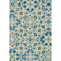 Hand-hooked Charlotte Turquoise/ Sea Kaleidoscope Rug (7'6 x 9'6)