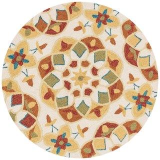 Hand-hooked Charlotte Ivory/ Spice Kaleidoscope Rug (3' x 3')