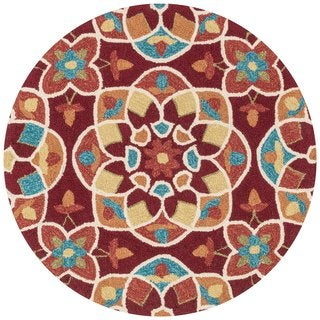 Hand-hooked Charlotte Red/ Spice Kaleidoscope Rug (3' x 3')
