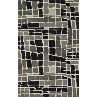 Hand-tufted Echo Grey/ Black Abstract Rug (5'0 x 7'6)