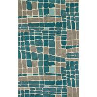 Hand-tufted Modern Teal/ Grey Abstract Wool Area Rug - 5' x 7'6