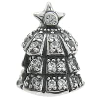 Queenberry Sterling Silver Christmas Tree Clear CZ Crystal European Bead Charm