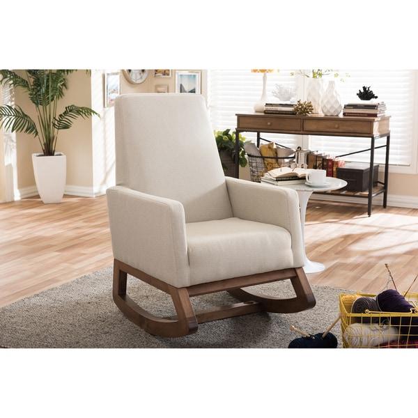 Baxton Studio Yashiya Mid Century Retro Modern Light Beige Fabric  Upholstered Rocking Chair