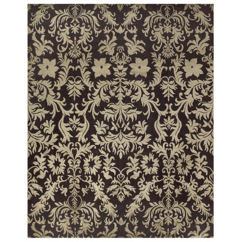 "Grand Bazaar Hand-knotted Wool/ Silk/ Cotton Kooshlame Rug in Charcoal (7'9 x 9'9) - 7'9"" x 9'9"""