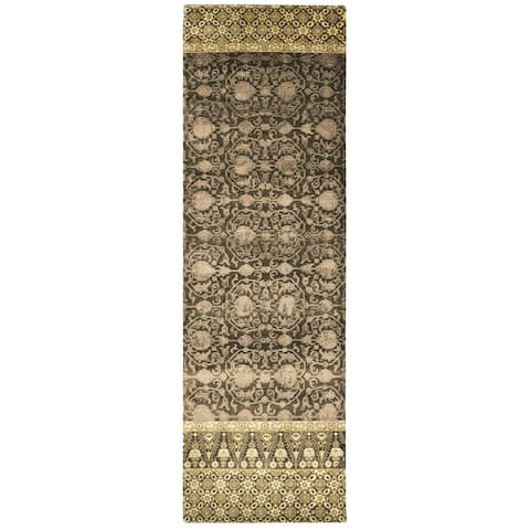 "Grand Bazaar Hand-knotted Wool and Art Silk Russell Rug in Raisin (2'6 x 8') - 2'6"" x 8'"