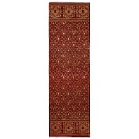 Grand Bazaar Hand-knotted Wool and Art Silk Russell Area Rug in Red (2'6 x 8')