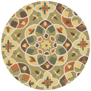 Hand-hooked Charlotte Green/ Spice Kaleidoscope Rug (3' x 3')