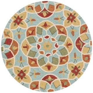 Hand-hooked Charlotte Turquoise/ Gold Kaleidoscope Rug (3' x 3')