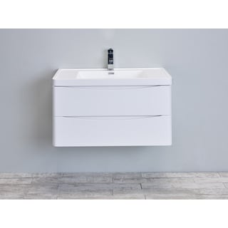"Eviva Smile 36"" Glossy White Modern Bathroom Vanity Set with Integrated White Acrylic Sink"