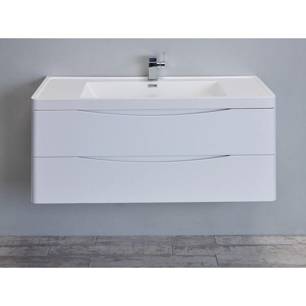 "Eviva Smile 48"" Glossy White Modern Bathroom Vanity Set with Integrated White Single Acrylic Sink"