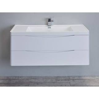 "Eviva Smile 48"" Glossy White Modern Bathroom Vanity Set with Integrated White Single Acrylic Sink"