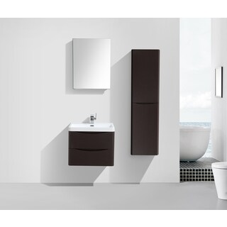 "Eviva Smile 24"" Chest-nut Modern Bathroom Vanity Set with Integrated White Acrylic Sink"