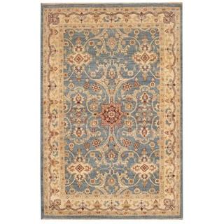 Herat Oriental Afghan Hand-knotted Vegetable Dye Oushak Blue/ Ivory Wool Rug (4' x 6')