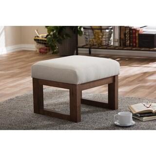 Strick & Bolton Coleman Mid-century Modern Light Beige Upholstered Ottoman Stool