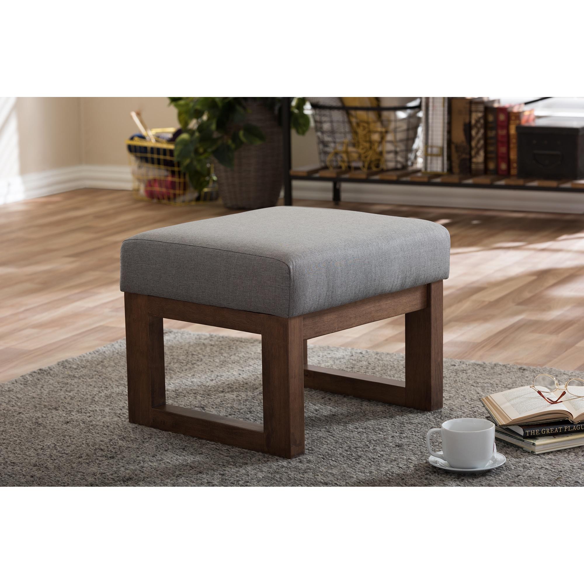 Strick U0026 Bolton Coleman Mid Century Modern Grey Upholstered Ottoman Stool