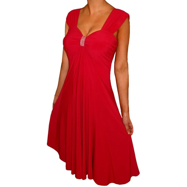 Women's Red Plus Size Slimming Empire Waist Sleeveless ...