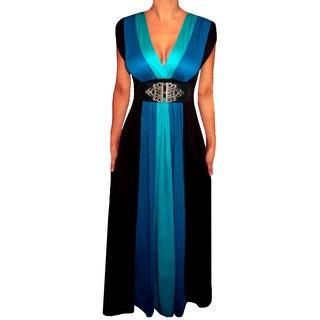 Women's Plus Size Blue/ Black Colorblock Long Maxi Dress