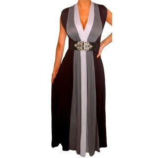 Women's Plus Size Grey/ Black Colorblock Long Maxi Dress