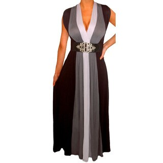 Women's Plus Size Grey/ Black Colorblock Long Maxi Dress