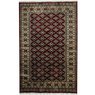 Herat Oriental Pakistani Hand-knotted Prince Bokhara Red/ Rust Wool Rug (4' x 6'3)